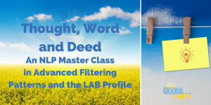 """""""Thought, Word and Deed"""" An NLP Master Class in advanced filtering patterns and the LAB Profile @ Allen Training Associates Ltd. 